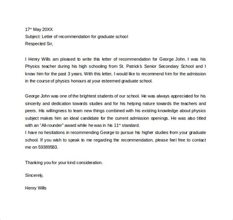 Recommendation Letter For Education Graduate School sle recommendation letter for proficiency from