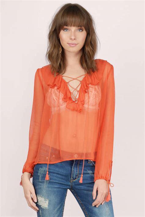 Preloved Sheer Blouse 1 terracotta blouse orange blouse lace up blouse 26 00