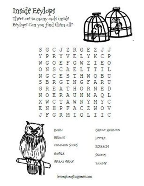 printable owl word search 1000 images about fall units harry potter on pinterest