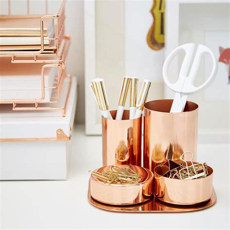 desk accessories set copper magnetic desk set the container store