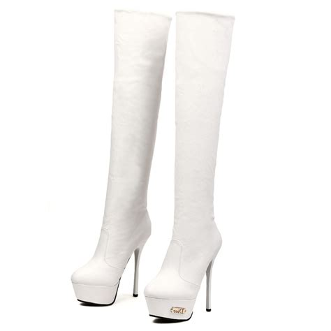 winter toe stiletto high heel white pu the knee