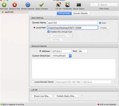 xp setup virtual host mac install cacti on mac os x 10 11