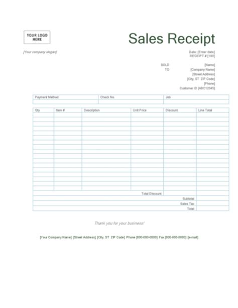 sales receipt template pdf editable invoice templates printable png booking form
