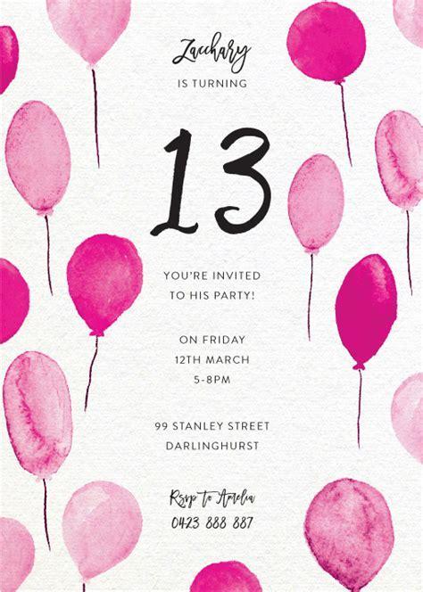 13th Birthday Invitations   Designs By Creatives   Printed