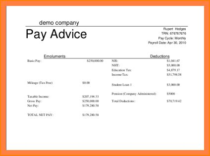 6 simple payslip template excel salary paper format