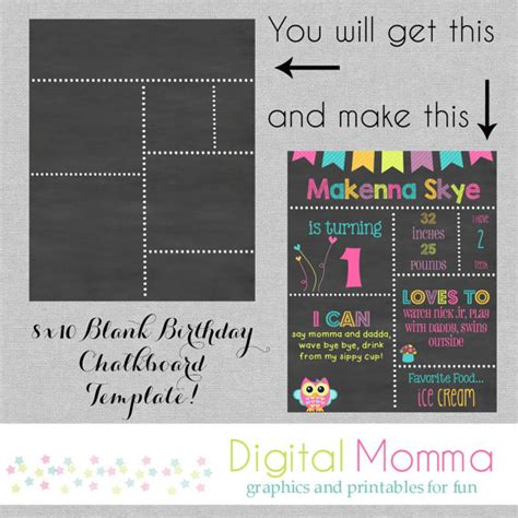 printable diy blank birthday chalkboard template by