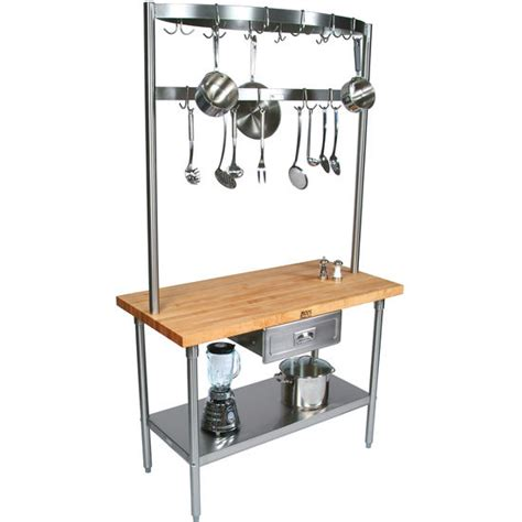 Kitchen Cart With Pot Rack kitchen carts butcher block counter top cucino grandioso with stainless pot rack by boos