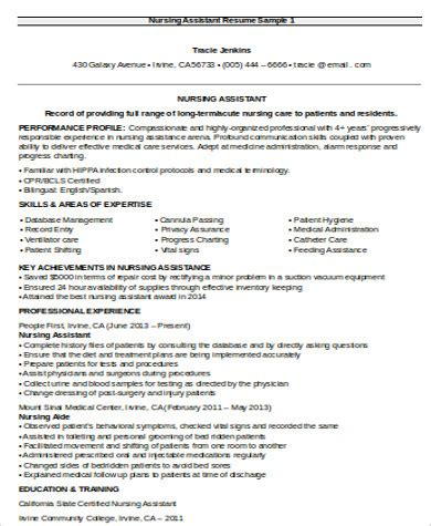 Resume Objective For Nursing Assistant by Nursing Resume Objective Sle 8 Exles In Word Pdf