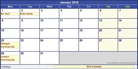 Calendar 2018 January Nz January 2018 Calendar Template Free Calendar 2017