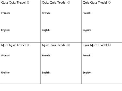 Trivia Card Template by Resources Belmont Teach