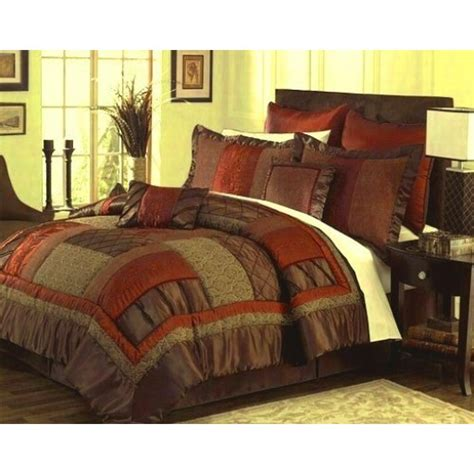 Patchwork Comforter Sets - 8pc bed in a bag alana chocolate reddish orange patchwork