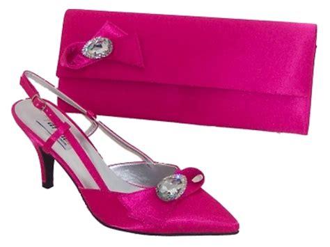 fuschia pink satin shoe and matching bag by farfalla