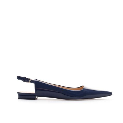 slingback flat shoes zara pointed slingback shoes in blue navy blue lyst