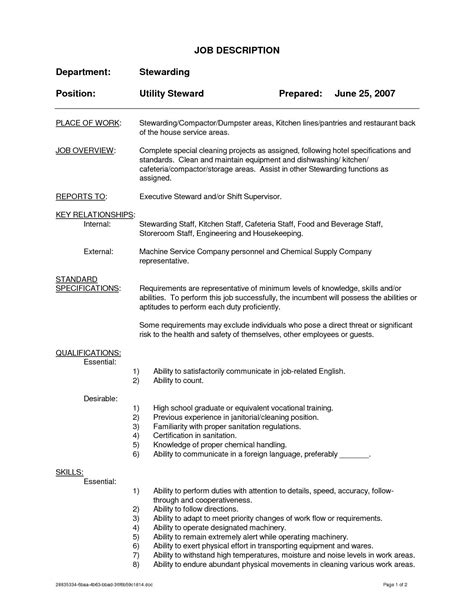 Resume Templates For Supervisor Position by Hospital Housekeeping Supervisor Resume Sle Resume Ideas