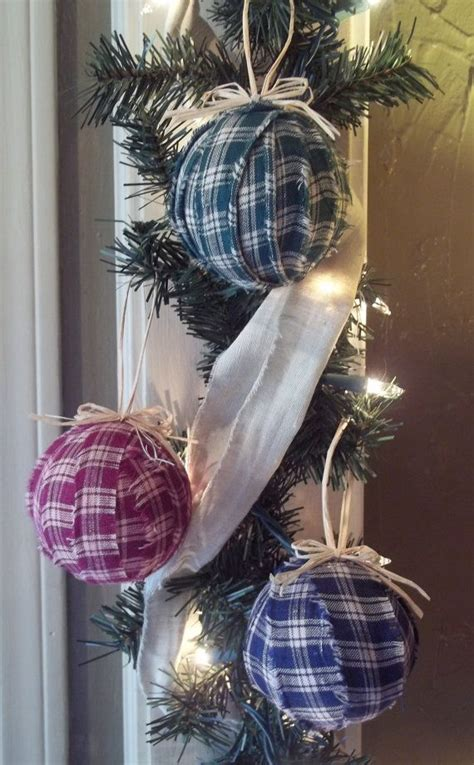 christmas tree ornaments primitive rustic fabric by