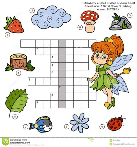 colorful flower crossword vector color crossword education for children about