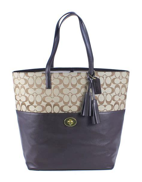Coach Legacy Signature Cotton Shoulder Bag by Coach Legacy Signature Turnlock Tote Khaki Mahogany