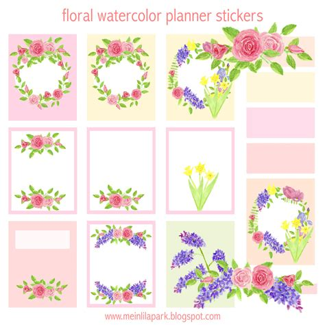 Sticker Drucken Png free printable floral planner stickers watercolor