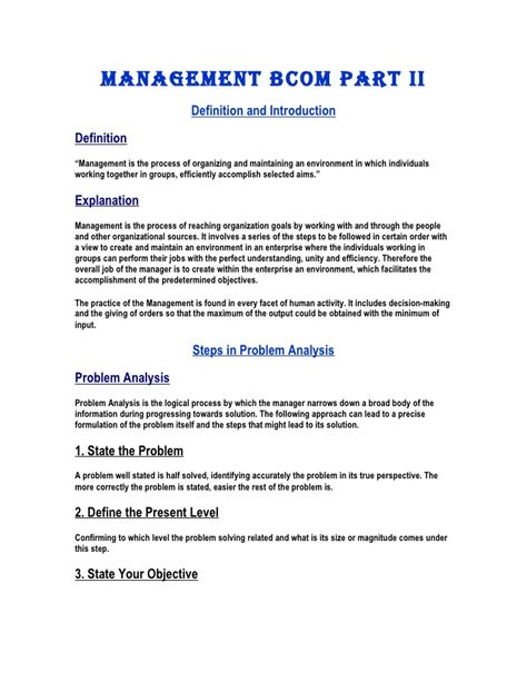Enterprise Performance Management Mba Notes by Management Notes B Ii