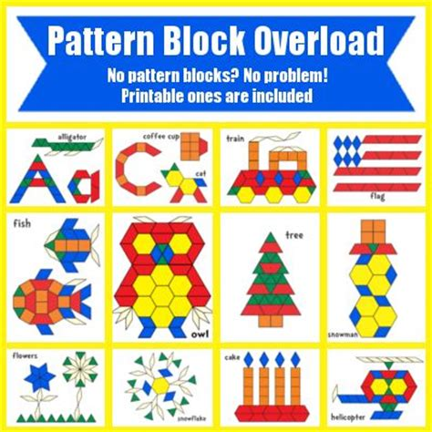 pattern blocks in kindergarten free pattern block templates worksheets printables
