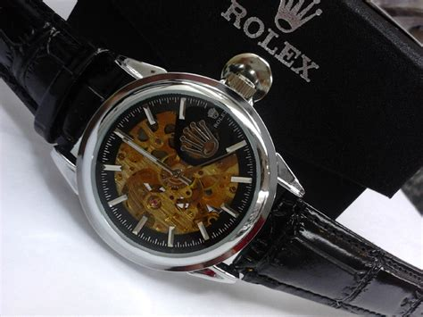 Rolex Skeleton Leather Black jual grosir jam tangan rolex skeleton leather plat black