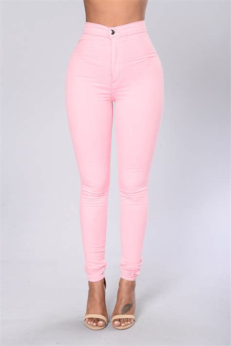 Celana Highwaist Hw Stretch 10 high waist denim skinnies pink
