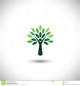 people tree icon with green leaves stock photos image