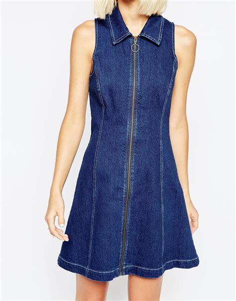 Dress Denim Ziper asos denim zip through dress with collar in blue lyst