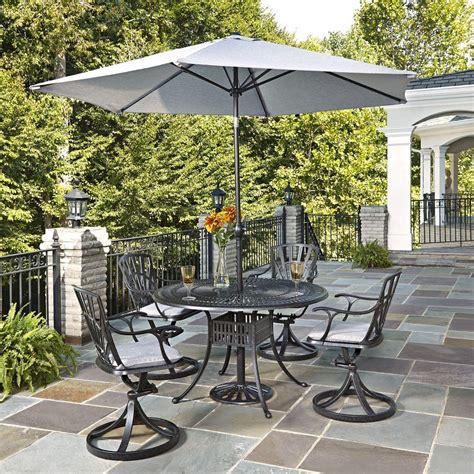 Outdoor Patio Dining Sets With Umbrella Home Styles Largo 5 Patio Dining Set With Gray Cushions And Umbrella 5560 3256c The Home