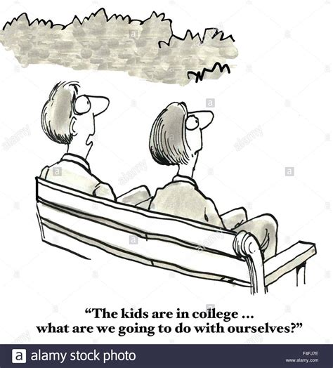 what are we going to do on the bed empty nester cartoon of parents saying the kids are in