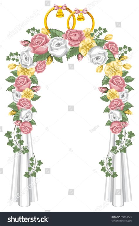 Wedding Arch Vector by Wedding Arch Decorated Flowers Vector Illustration 스톡 벡터