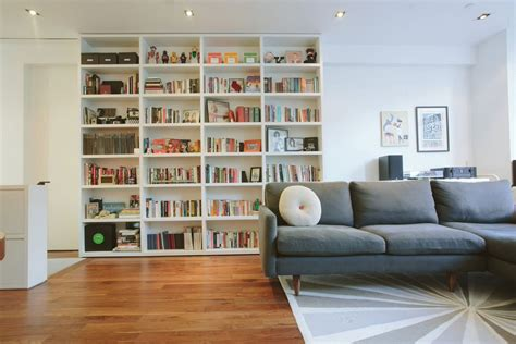 living room with bookshelves ikea billy bookcase in contemporary living room with white