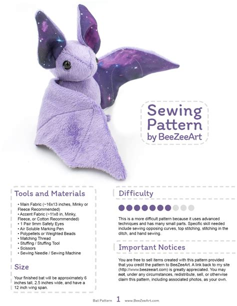 sewing pattern stuffed animal stuffed animal bat sewing pattern plush toy pattern pdf