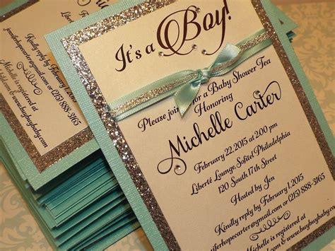 handmade baby shower invites boy 2 custom handmade turquoise silver glitter baby shower