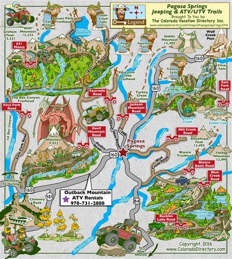 jeep trails near colorado springs pagosa springs jeeping atv trails map colorado