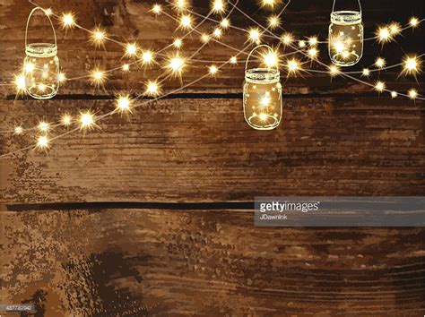 Horizontal Blank Invitation Design Template With String Lights And Jars Vector Art   Getty Images
