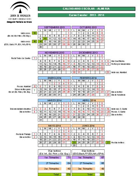 Calendario Escolar Andalucia 2015 Cadiz Calendarios Escolares Calendarios