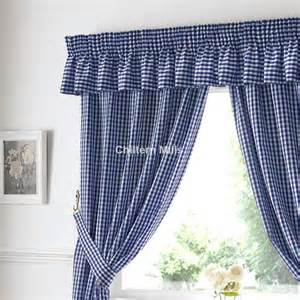 Blue Gingham Kitchen Curtains Gingham Ready Made Kitchen Curtains In Blue