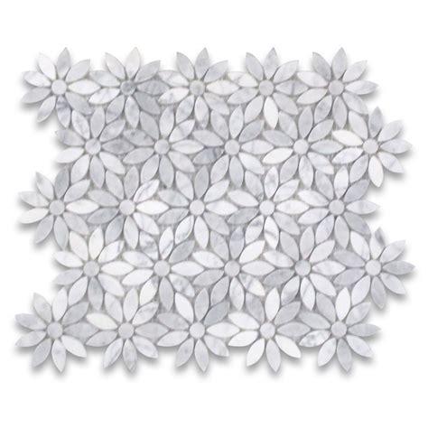 Subway Tile For Kitchen Backsplash carrara white daisy flower pattern mosaic tile polished