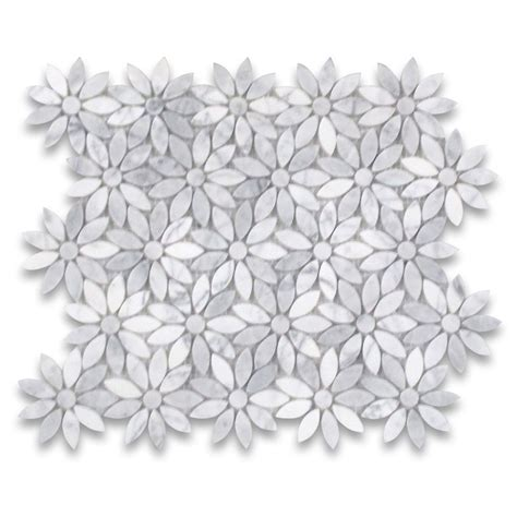flower pattern mosaic tile carrara white daisy flower pattern mosaic tile polished