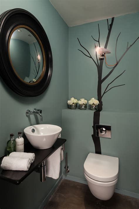 cool bathroom paint ideas powder room paint color ideas with round mirror and wall