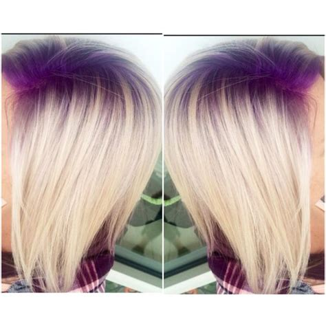 hair shadowing dark purple green and blonde on top brown on bottom purple violet shadow root with platinum blonde hair