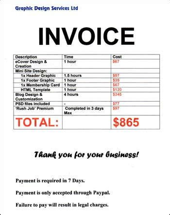 website design invoice breakdown special one time offer for my free website builder members