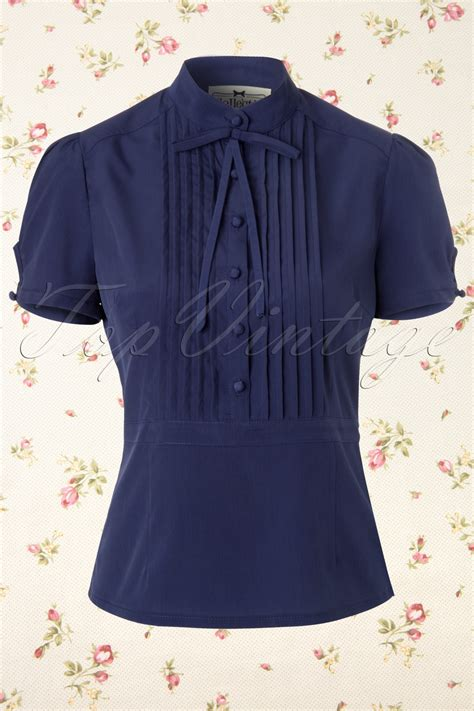 Elyza Blouse 50s eliza bow blouse in navy