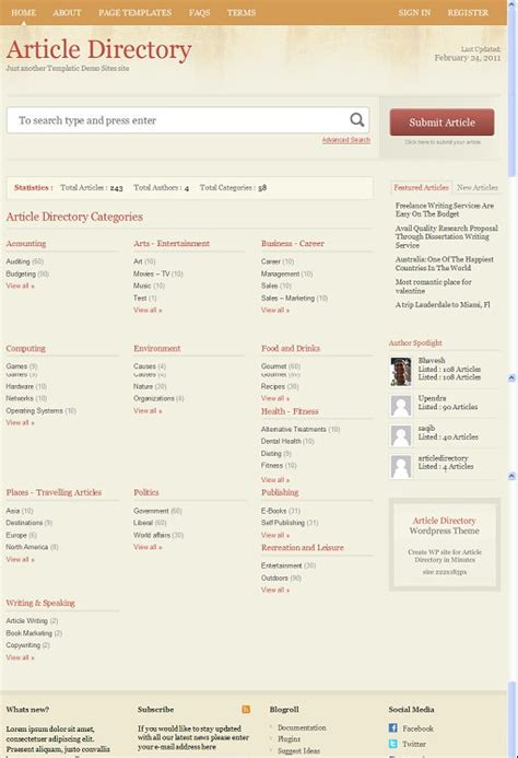 wordpress templates for articles templatic article directory wordpress article directory