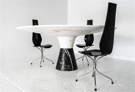 Black And White Marble Dining Table Demarco Dining Table With Solid Hewn White Marble Top And Black Marble Base For Sale At 1stdibs