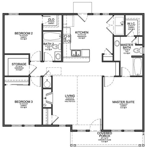house plans with and bathrooms floor plan for small 1200 sf house with 3 bedrooms and 2