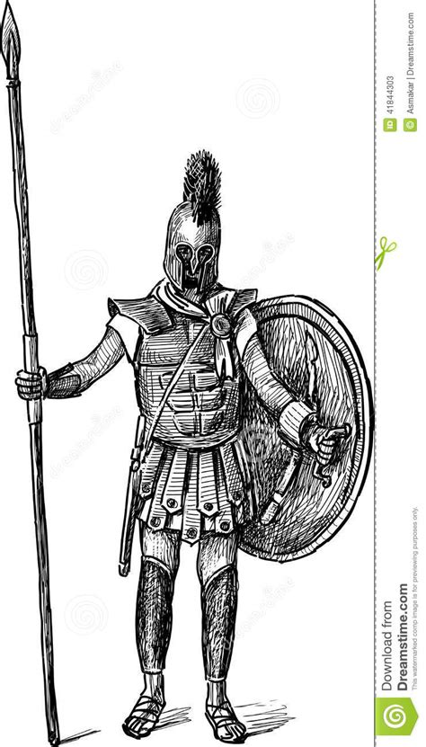 ancient greek warrior stock vector illustration of