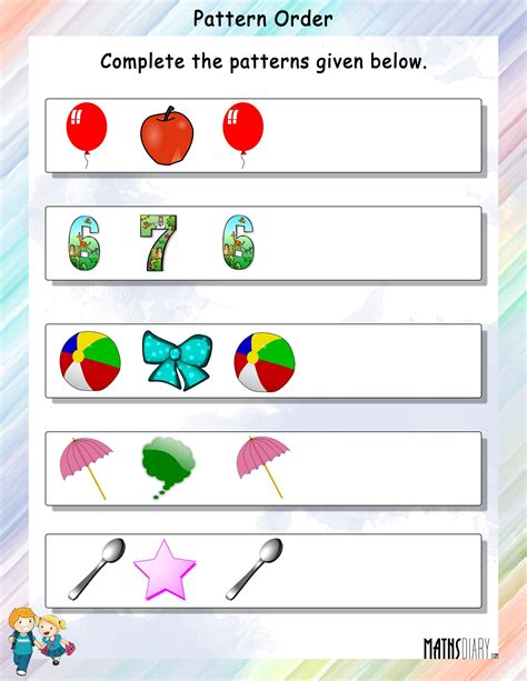 pattern and order activities patterns grade 1 math worksheets