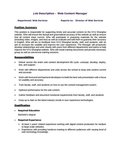 33 Job Description Templates Sle Templates Manager Description Template